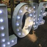 Leuchtbuchstaben als Dekoration zur Hochzeit