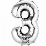Zahlenballons Berlin silber 3