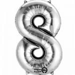 Zahlenballons Berlin silber 8